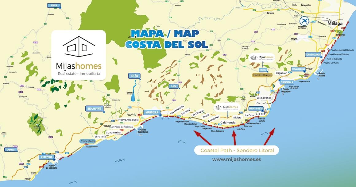 Map Of The Costa Del Sol